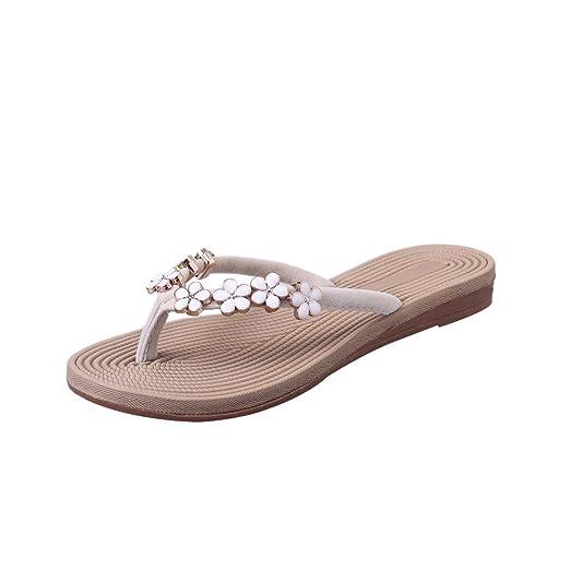 a947c80c1d5b Photno Women Flip Flops Casual Flower Slippers Summer Flats Sandals Beach  Slip On Slides Shoes Beige