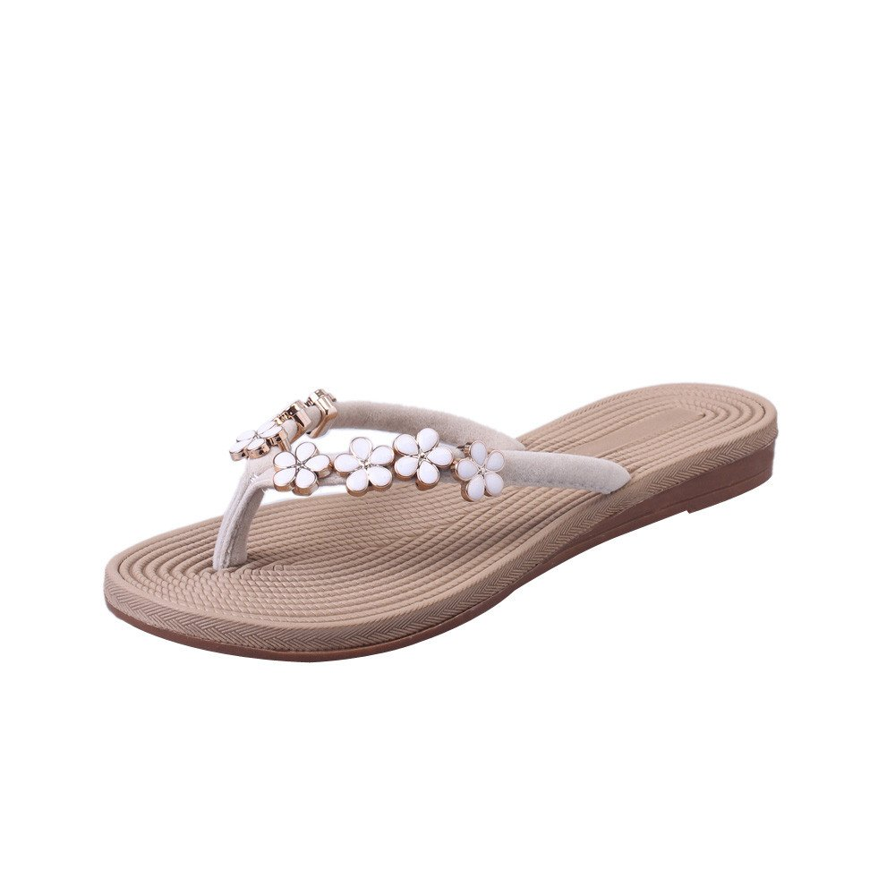Nevera Women's Fashion Flower Flip Flops Flat Sandals Slipper Beach Shoes Indoor and Outdoor Beige