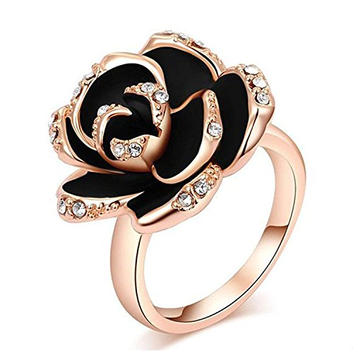 (Winter.Z Noble and Elegant Ladies Jewelry Popular Explosion Models Austria Crystal Rose Gold Black Rose Ring Wedding)