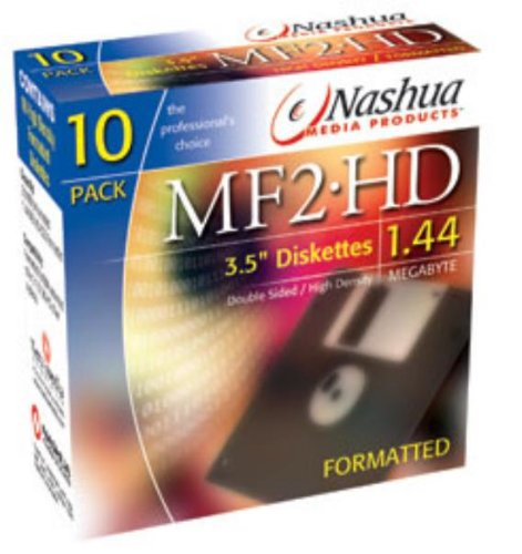 1x10 Pack Nashua Diskettes MF 2HD Computer PC Floppy Disks Formatted 1.44MB 3.5inch