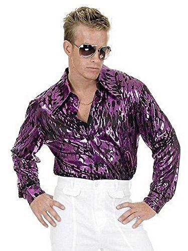 Men's Plus Size Disco Purple Flame Shirt 1X