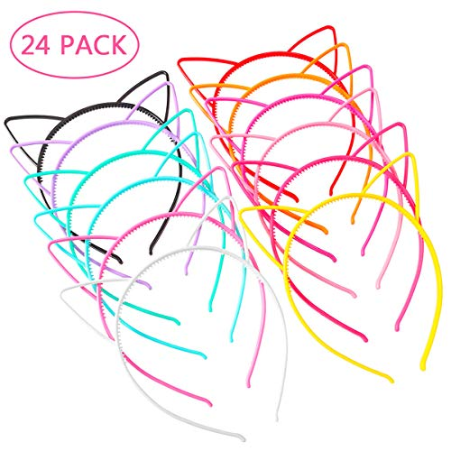 Pony Decorations Birthday Party (Unomor 24PCS Plastic Cat Ears Headband for Cat Birthday Party Supplies and Daily Decorations, 12)