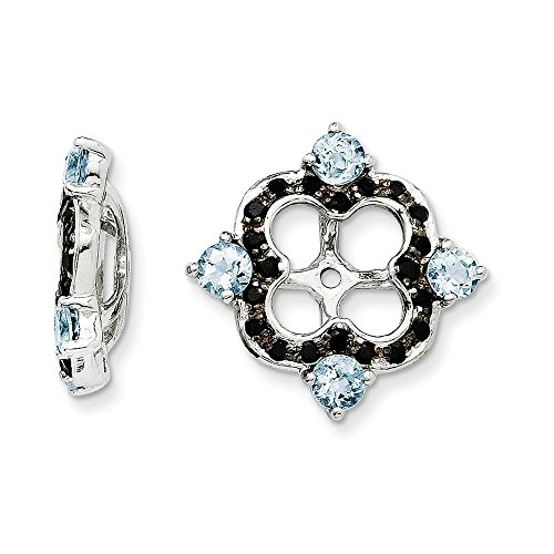 Sterling Silver Aquamarine & Black Sapphire Earring Jacket by CoutureJewelers