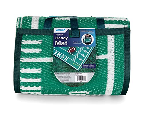 Camco 5'x 6-1/2' Handy Mat with Strap | Football Field Print | Ideal for picnics, Beaches, RVing and outings | Weather-Proof and Mildew-Resistant (42819)