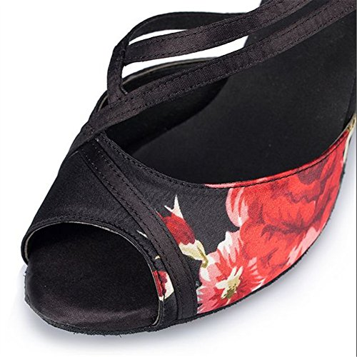 Baile Salsa Baile Mujer S De Latino Zapatos Tacón De Social Alto Baile A GUOSHIJITUAN Tango Seda De Fondo Zapatos Blando Impreso Zapatos 7wfwxZ