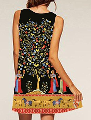 Ethno Print Blusenkleider ärmellos Partykleid Trägerlos Minikleid Rundhals Schrittrock Sommer Strandkleider Loose Freizeitkleider Empirekleider