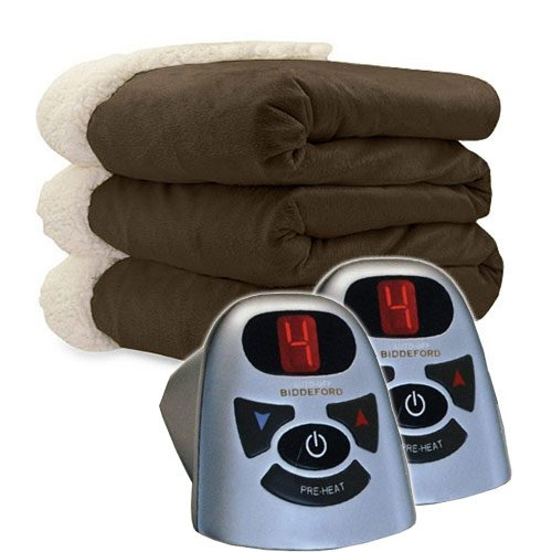 Biddeford 6003-9362160-711 Micro Mink and Sherpa Heated Blan