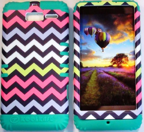 Cellphone Trendz (TM) Hybrid 2 in 1 Case Cover Multicolor Chevron Design Snap on and Teal Silicone Gel for Motorola DROID RAZR M (XT907, 4G LTE, Verizon) + Free Wristband Accessory - Cellphone Trendz (TM)