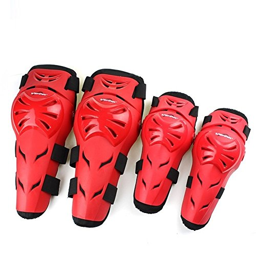 Runworld 4 pcs Motorcycle Motocross Cycling Elbow and Knee Pads Protection Shin Guards Body Armor Set Protective Gear For Adults (Red)
