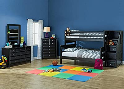 Catalina Black 5 Pc. Twin & Full Bunk Bedroom With Staircase