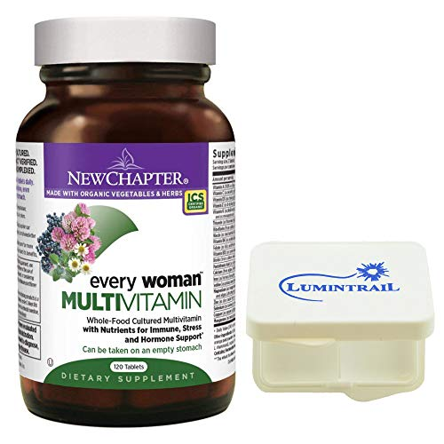 New Chapter Every Woman, Women's Multivitamin Fermented with Probiotics + Iron + Vitamin D3 + B Vitamins + Organic Non-GMO Ingredients - 120 ct Bundled with a Lumintrail Pill Case ()