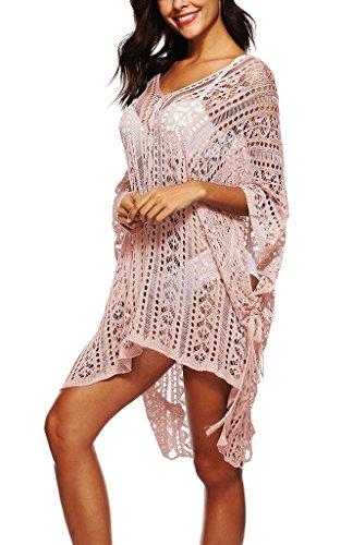 COMVIP Mujeres Crochet ahueca hacia fuera el cuello en V Batwing de vestir de manga Beach Asia Longitud: 80 cm, busto: 170cm Rosado