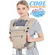 baby carriers front and back, 360 Ergonomic Baby Carrier - All Season Baby Sling 100% cotton baby backpack,One Size Fits All - Adapt to Newborn, Infant & Toddler (YELLOW)