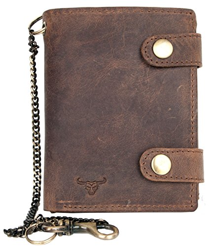 Biker Buckle (Men's Genuine Leather Biker's Wallet with Two Buckles and Metal Chain with a Bull)