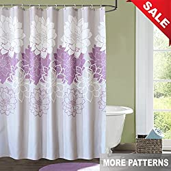 Kingmily Floral Fabric Shower Curtain, Flower, Gray Purple White (72-by-72 inches, Design 10)