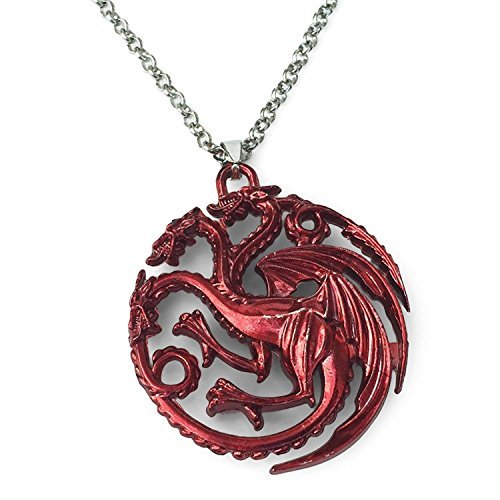 GOT Inspired Merchandise. Red Three Headed Dragon Pendant with Silver Tone Chain Necklace ()