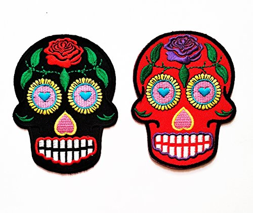 Nipitshop Patches Set 2 Pcs Black Red Skull Sunflower Eye Patch Skull Rose Sugar Skull Day of The Dead Tattoo Biker Horror Goth Punk Emo Rock Retro Embroidered Applique for -