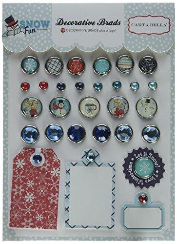 Making Memories Decorative Brads - Carta Bella Paper Company CBSF59020 Snow Fun Decorative Brads