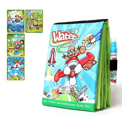 - Tangomall Cartoon Travel Magic Water Painting Book Drawing Book with Magic Water Pen Travel Doodle Mat for Toddlers Coloring Book Paint with Water for Kids Development Toys Paint for Toddlers