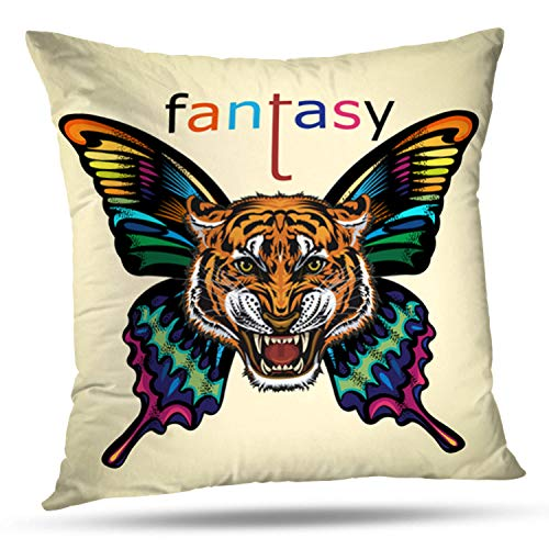 LALILO Throw Pillow CoversBeautiful Butterfly Tattoo Angry Tiger Face Animal Double-Sided Pattern for Sofa Cushion Cover Couch Decoration Home Bed Pillowcase 18x18 inch -