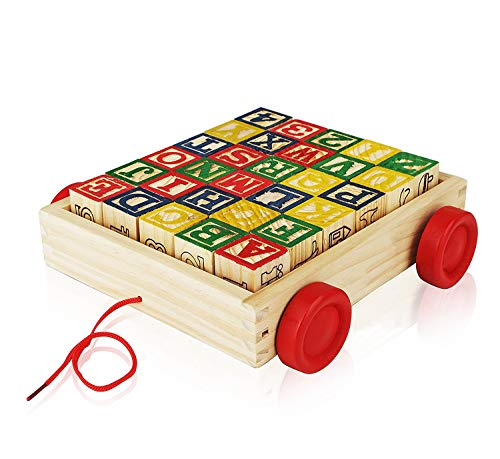 Wooden Alphabet Blocks, Best Wagon ABC Wooden Block Letters Come in a Pull Wagon for Easy Storage and Movement, Most Entertaining Wooden Toy for Toddlers, 30 Pieces Set. (Best Blocks For Toddlers)