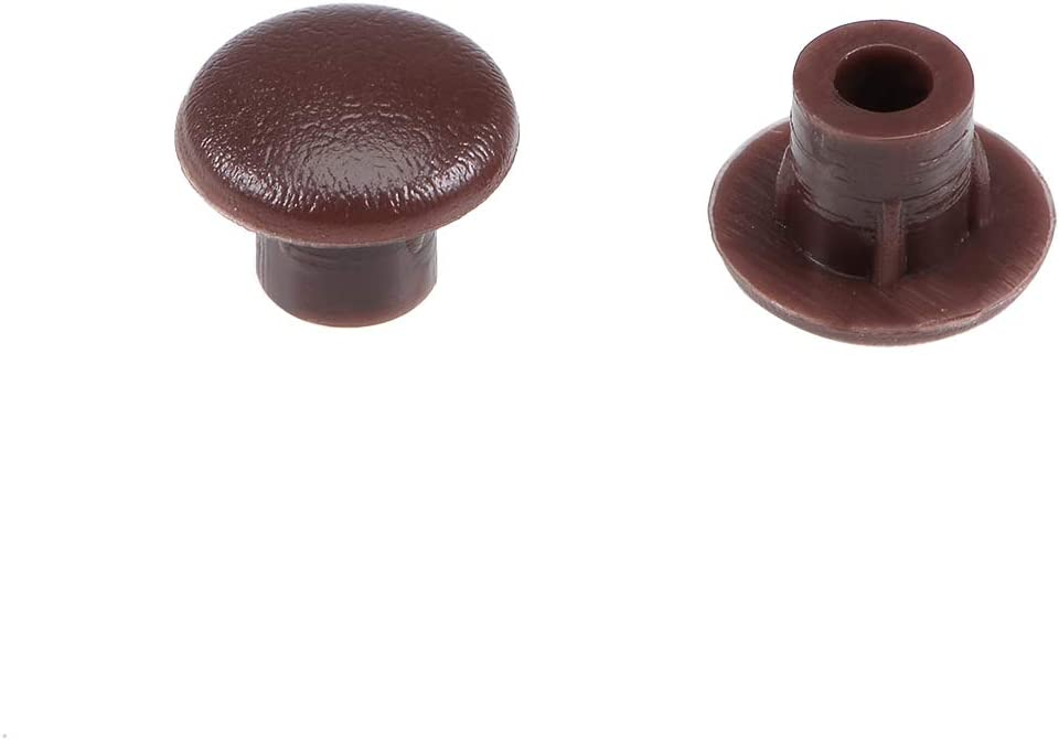 uxcell Screw Cap Cover,100Pcs 5mm Dia Brown Plastic Locking Hole Plugs Button Top Flush Type for Cabinet Cupboard Shelf