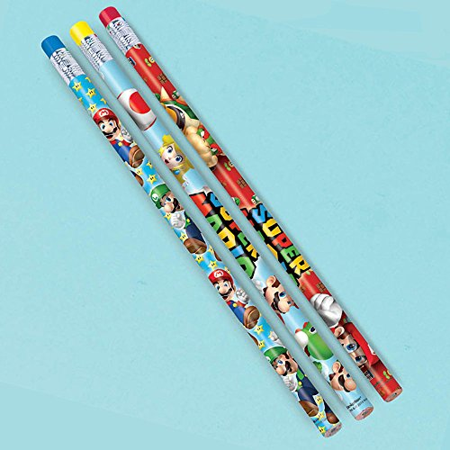 """Super Mario Brothers Birthday Party Assorted Pencils Favours, Wood, 7"""", Pack of 12"""
