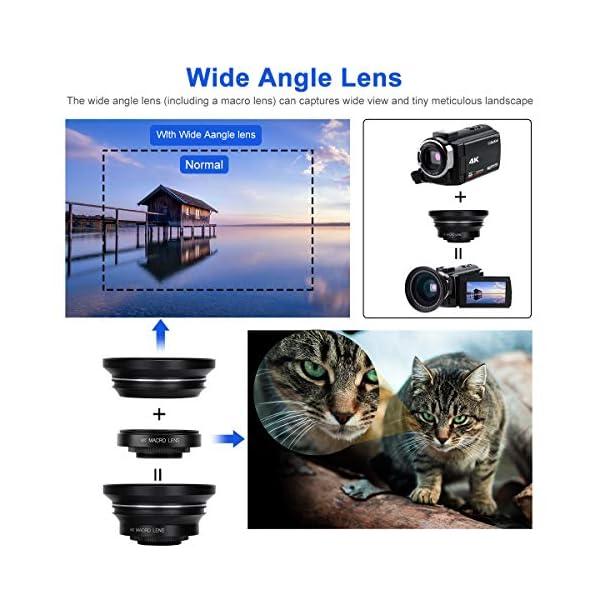 """Videocamera 4K, CofunKool WiFi Ultra Alta Definizione 48MP Digitale Videocamera, Sensore CMOS, IR Visione Notturna, 3.0"""" IPS Schermo, con Microfono e Obiettivo Grandangolare 4 spesavip"""