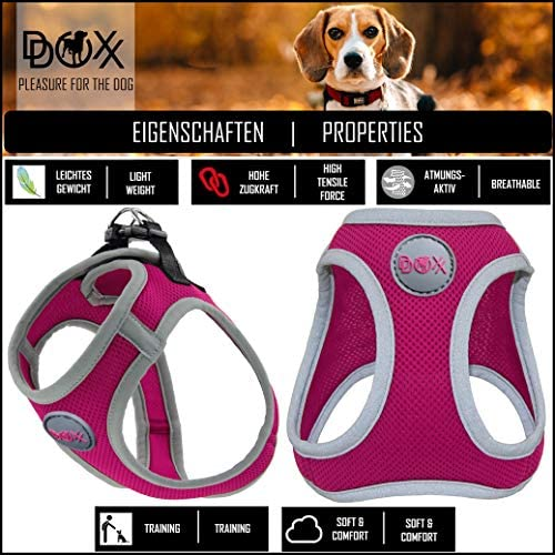 Harnais de Poitrine Chat Chiot DDOXX Harnais Chien Step-in Air Mesh Rose Pink pour Petit Moyen Gros /& Grand Nombreuses Couleurs /& Tailles R/églable Rembourr/ée XS