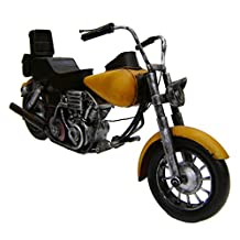 "Modestone 14 1/2"" Classic Motorcycle Antiqued Decorative Replica Metal Yellow"