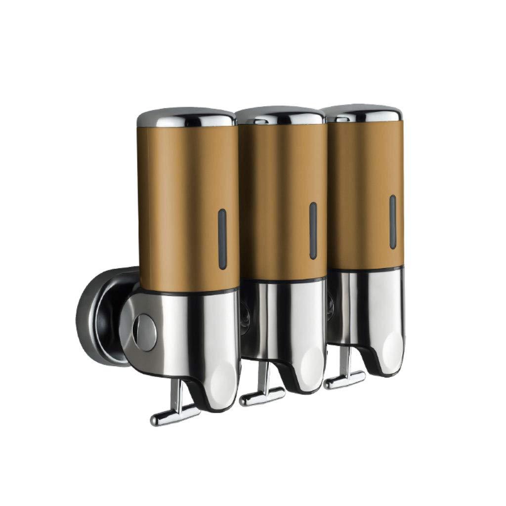 3 Bottles 500 ml Bathroom Shower Liquid Soap Shampoo Gel Dispenser Pump Wall Mounted Soap Dispenser (Color : Champagne Gold)