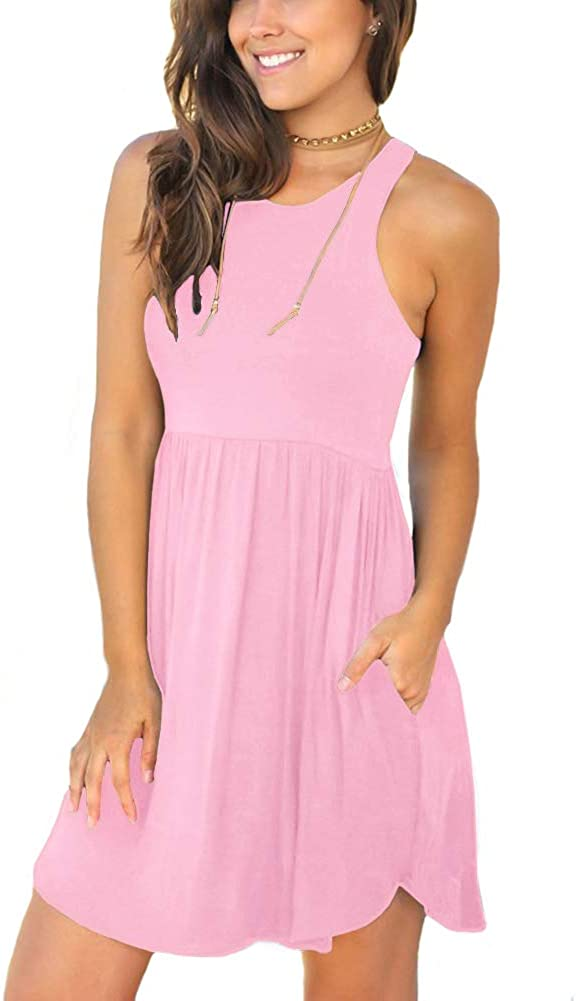 LONGYUAN Women's Summer Casual T Shirt Sundress Swimsuit Cover Ups with Pockets
