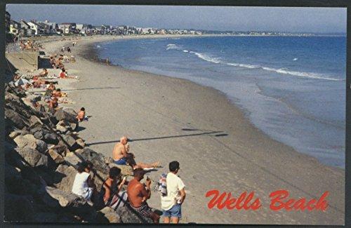 Wells Maine People on Beach Ocean View Vintage - Postcard Vintage Well