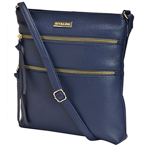 Leather Crossbody Purse for Women - Handmade Cross Body Bag Over the Shoulder Purses Small Womens Handbag Messenger Bags by Estalon (Navy) (Body Blue Bag Cross)