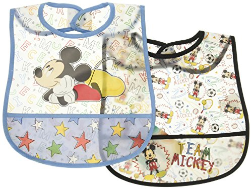 Disney Mickey Mouse 2 Piece Printed Frosted Water Proof Peva Bib, Blue Crumb Catcher Pocket ()