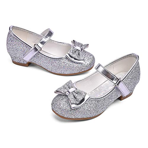 STELLE Girls Mary Jane Glitter Shoes Low Heel Princess Flower Wedding Party Dress Pump Shoes for Kids Toddler(Silver, 1ML) (Silver Shoes For Flower Girl)