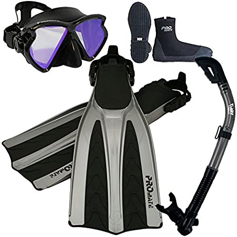 Color correction Mask Snorkel Boots Fins Gear Set, Yel LENS w Bk/Ti, Mens 10 / Womens 11