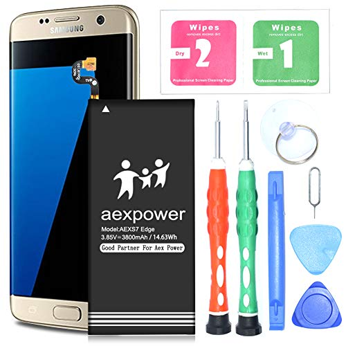 Galaxy S7 Edge Battery | Upgraded AexPower 3800mAh Lithium Ion Polymern Internal Battery Replacement for Samsung Galaxy S7 Edge EB-BG935ABE G935V G935P G935A G935F G935T [18 Month Warranty] by AexPower