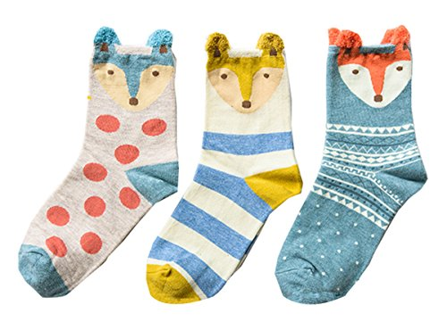 Salen T Women's Cotton Crew Socks Casual Warm Sock with Animals Pattern 3 Packs 5153lvK7iGL