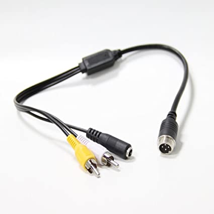 4 Pin Male Aviation cable to RCA DC Adapter Audio & Video Cable for Truck Parking