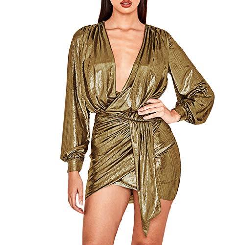 Xinantime Women's Summer Long Sleeve Deep V Slim Irregular Mini Short Skirt Night Club Party Beach Top Skirt -
