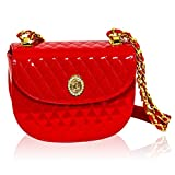Valentino Orlandi Italian Designer Scarlet Red Quilted Leather Half Moon Chain Bag