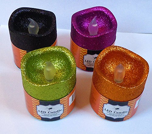 [Set of 4 Halloween LED Flickering Spooky Candles 3