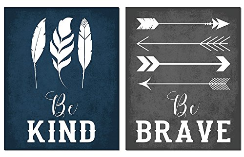 Gango Home Décor Adorable Navy Blue, Grey and White Feather and Arrow Be Kind and Be Brave Set; Two 11x14in Unframed Paper Posters