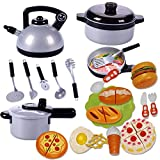 Novobey Kitchen Cookware Sets For Kids Kettle Pressure Cooker Spatula Soup Spoon Kitchen Tool Set With Plastic Hamburger Pizza Bread Fast Food Set Kitchen Pretend Play Toys 22 Pcs