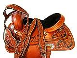 15 16 17 Barrel Racing DEEP SEAT Pleasure Horse Trail Leather Western Saddle Set