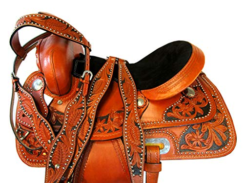 Orlov Hill Leather Co 17 15 16 Barrel Racing Trail Pleasure Custom Made Horse Western Saddle Show Set (17 Inch)