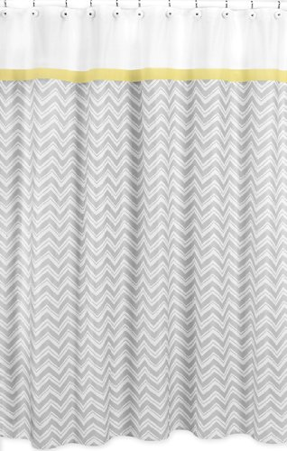 Yellow And Gray Zig Zag Kids Bathroom Fabric Bath Shower Curtain By Sweet Jojo Designs