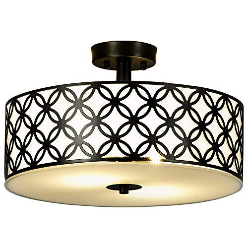- SOTTAE Black Ceiling Lamp 2 Lights Creamy White Glass Diffuser Living Room Flush Mount Ceiling Lights, Ceiling Light Fixture in 13