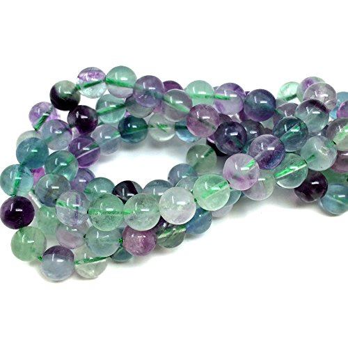 Crystal Beads Long Necklace - Chengmu 8mm Fluorite Beads Natural Gem Round Loose Beads for Jewelry Making for Bracelet Necklace